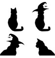 halloween silhouettes of black cats isolated on vector image
