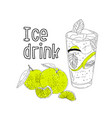 hand drawn summer ice drink with cittrus vector image vector image
