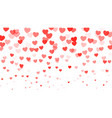 hearts falling on white background red hearts vector image vector image