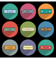 Icons of suitcases with long shadow vector image