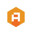 initial a logo icon with orange hexagon shape vector image vector image
