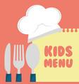 kids menu cuttlery kitchen design vector image vector image