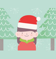 merry christmas little girl with hat santa vector image vector image