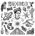 mexico set in vintage style traditional national vector image