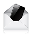 Modern phone in envelope vector image vector image