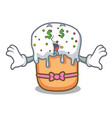 money eye easter cake mascot cartoon vector image