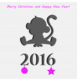 Monkey in paper Christmas card vector image vector image