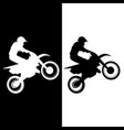 motocross rider and motorcycle silhouette vector image vector image