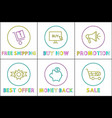 online shopping sales and promotion icons vector image