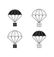 parachutes with cargo icons vector image vector image