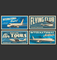 plane and airport retro banners air travel vector image vector image