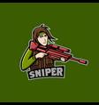 red gun sniper mascot logo vector image vector image