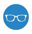 round icon glasses cartoon vector image