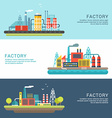 Set of Industrial Factory Buildings Flat Style vector image vector image