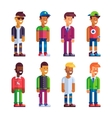 Set of male characters in flat design vector image vector image