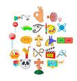 shield icons set cartoon style vector image