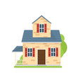 small cute american house with blue roand grass vector image