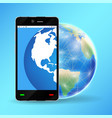 smartphone with planet earth world globe vector image vector image