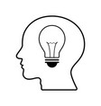 technology future light bulb head side view vector image
