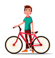 teen boy with bicycle city bike outdoor vector image