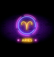 the aries zodiac symbol in neon style on a wall vector image