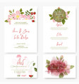 wedding kit four cards designs with roses vector image