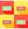 Yellow Red Cyan Sale Signs Set vector image