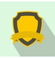 Yellow shield with ribbon icon flat style vector image