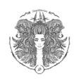zodiac sign portrait a woman sagittarius vector image vector image