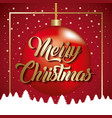 merry christmas card golden text ball with tree vector image
