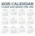 2015 Clean Calendar Template Mockup Brochure vector image