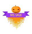badge for halloween with pumpkinbig sale badge vector image vector image