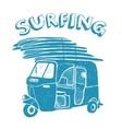 Blue tuk-tuk with surfboards grunge vintage logo vector image vector image