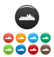boat icons set color vector image vector image