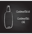Bottle of cosmetic oil painted with chalk on vector image vector image