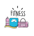 bottle of water with bag and healthy weight vector image vector image
