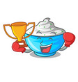 boxing winner bowl of sour cream on cartoon wooden vector image vector image