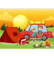 boys camping out in field vector image vector image