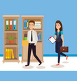 business people in the office isometric avatars vector image vector image