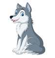 cartoon wolf sitting on white background vector image vector image