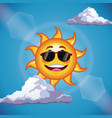 Character sun sunglasses cute face - cartoon in vector image