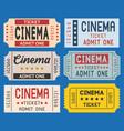cinema ticket in retro style set vector image vector image