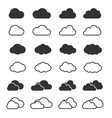 cloud icon and shapes set clouds silhouette vector image vector image