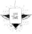 Coffee time owl in binoculars Doodle vector image