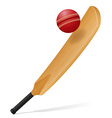 cricket bat and ball 02 vector image vector image