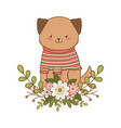 cute dog woodland character vector image