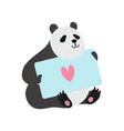 cute panda bear holding greeting card happy vector image