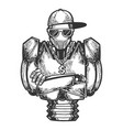 cyborg robot rapper sketch engraving vector image