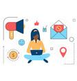 digital marketing web technology line icons vector image