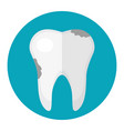 dirty tooth caries icon flat style dentistry vector image vector image